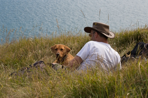 Charlie and Rusty resting on our trek along the Jurassic coastline