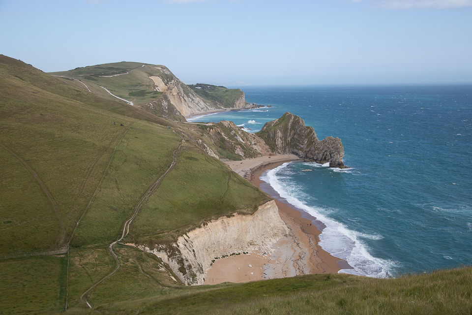 The view along Jurassic coast towards Durdle Door, Dorset